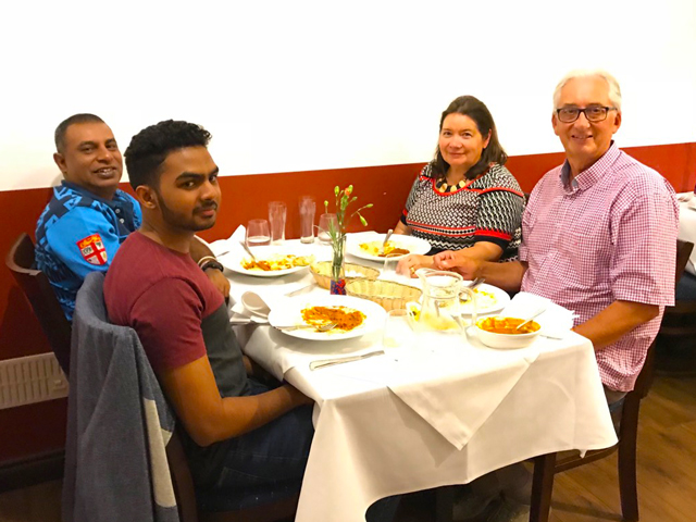 Liz Bunting, her husband, Prasanjith and Dinitha.	Thank	you	for inviting me and Dinitha for the dinner.