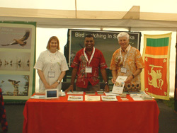 Jackie and Peter Bourne with Prasanjith in the middle at the Walk With Jith Stand at British Bird Watching Fair 2009 UK.
