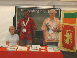 Shirley and Barry, past guests, with Jith volunteering at the Walk With Jith stand BBF 2009.