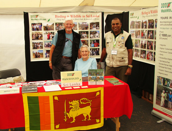 Alan and Betty with Jith at Walk With Jith stand at British Birdfair 2014