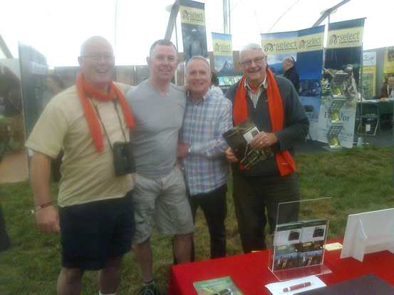 Biran, Ian, Jim and one of their friends at the Britis Birdfair 2014