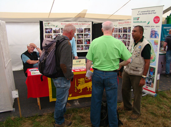 Jith with some visitors at Walk With Jith stand at British Birdfair 2014
