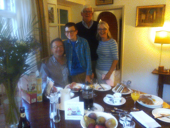 Martin, his son, John and Sue at John and Sue's place - A birtday breakfast for Pasanjith