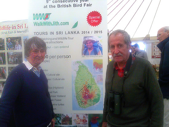 Mary and Alastair Newman at the Walk With Jith stand at the British Birdfair 2014