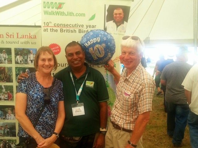 Peter and Jakie with Jith - 10 years at British Birdfair!