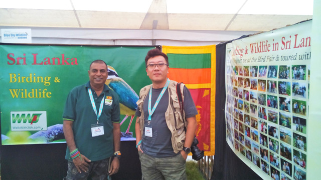 Prasanjith Jith and Jerry at the Walk With Jith stand British Bird Fair 2016